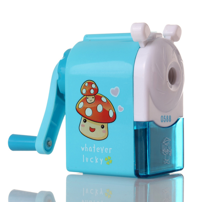 New Hand Mechanical Pencil Sharpeners Cartoon Print Windmill Pencils Sharpener for Kids School Supplies Promotional Gift 2017 1 pcs deli 0616b kids cute cosmetic hand manul house pencil sharpeners mechanical machine 1pc brand stationery supplies