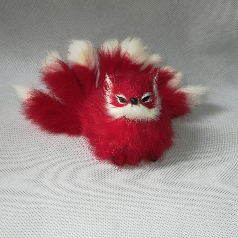about 16x10cm real life toy red fox with nine tails, hard model furs craft prop, home decoration gift h1379 image