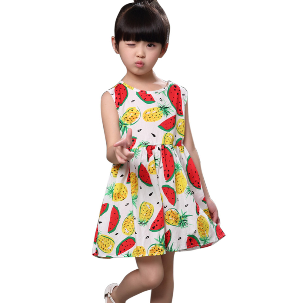 Fashion Summer Children Girls Dress Clothing Sleeveless ...