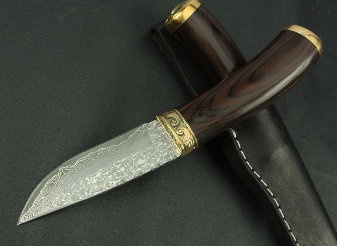 ФОТО damascus camping  knives outdoor survival damascus steel hunting knives copper handle handmade damascus forged steel knife