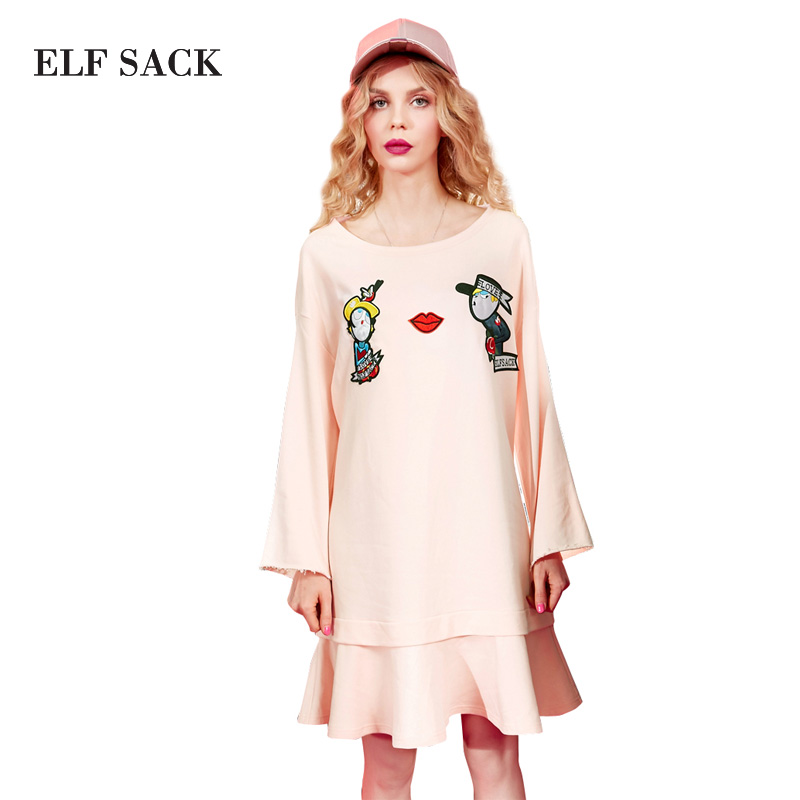 ELF SACK 2017 Women Straight Solid Knee-Length Dresses Spring O-Neck Ruffles Dress Ladies Pleated Character Applique Dresses