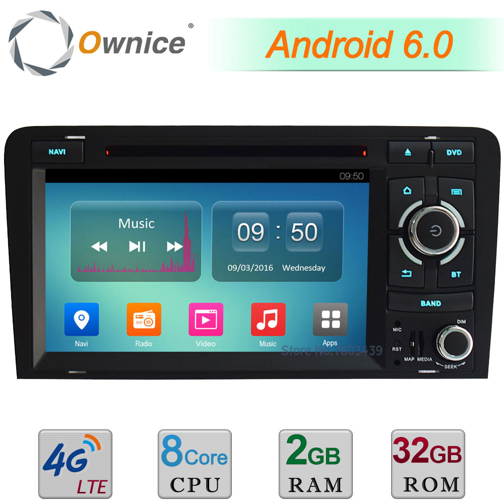 2GB RAM 32GB ROM Android 6.0 7 Octa Core 4G Wifi DAB+ USB Car DVD Multimedia Player Stereo Radio For Audi A3 RS3 S3 2003-2013