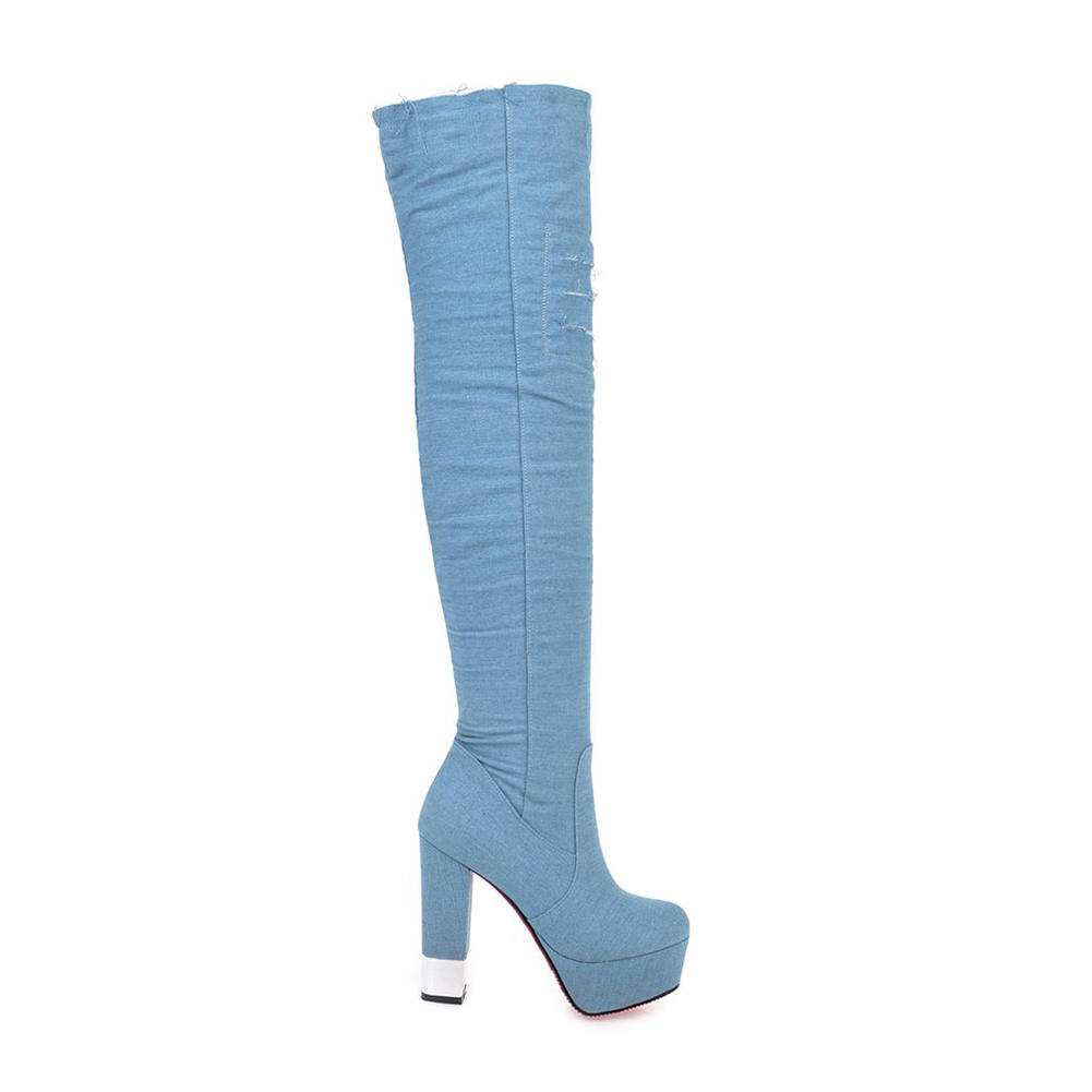 7e5f163b Fur Blue dark La Sobre Fiesta Zapatos Grande dark 2018 Doratasia light Talla  32 Blue Fur Rodilla Light Plataforma Gruesos Altos Blue Cremallera Tacones  43 ...