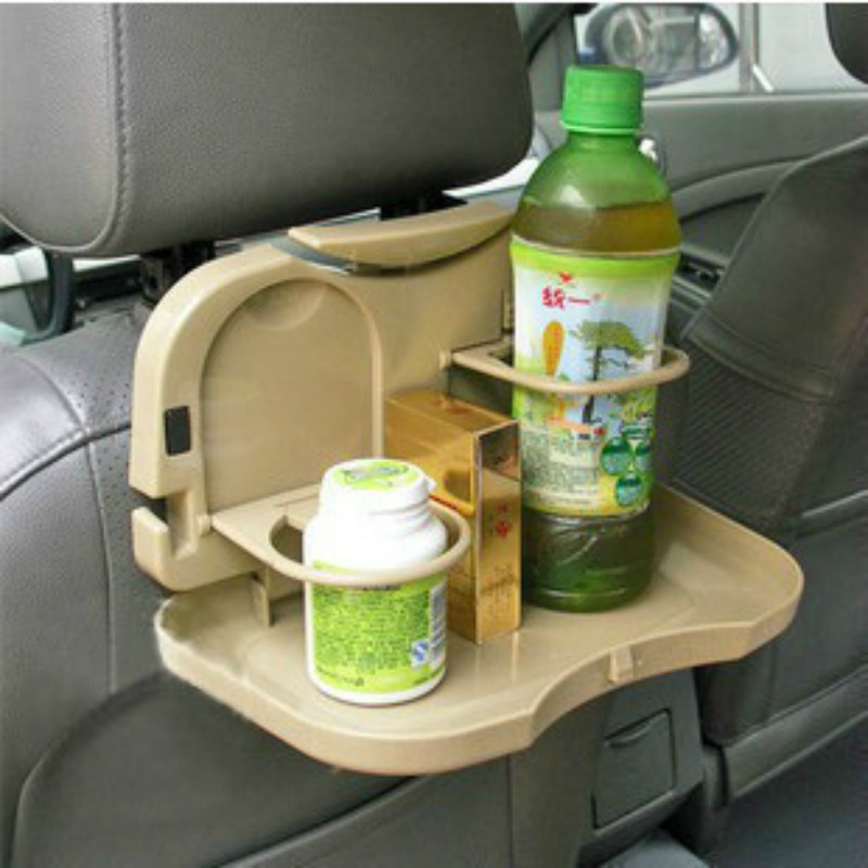 Portable Universal Car Food Tray Folding Dining Table Drink Holder Car Pallet Back Seat Water Cup Holder Car Tray Beverage Rack