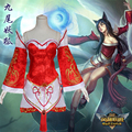 Free PP Game LoL Cosplay Costume Ahri the Nine-Tailed Fox Halloween Fancy Dress Costumes For Women