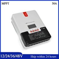 Ulepszony MPPT 30A Regulator Solarny 12 V/24/36 V/48 V Auto podświetlenie LCD wyświetlacz Max 150 V Regulator 30A Soalr Wejście RS232 485 Port