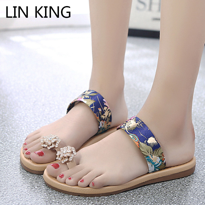 LIN KING Fashion Crystal Women Slippers Casual Flower Summer Flats Beach Shoes Casual Woman Slides Comfortable Female Flip Flops lin king luxury rhinestone women flats slippers fashion crystal soft sole summer shoes ladies cool outdoor slides big size 42