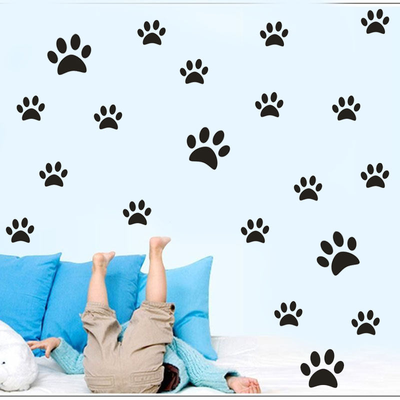 40PCS Pet Dog Footprints Pattern Wall Decal Lovely Vinyl Waterproof Stickers In Two Size Adhesive Wall Sticker Home Decor SYY132