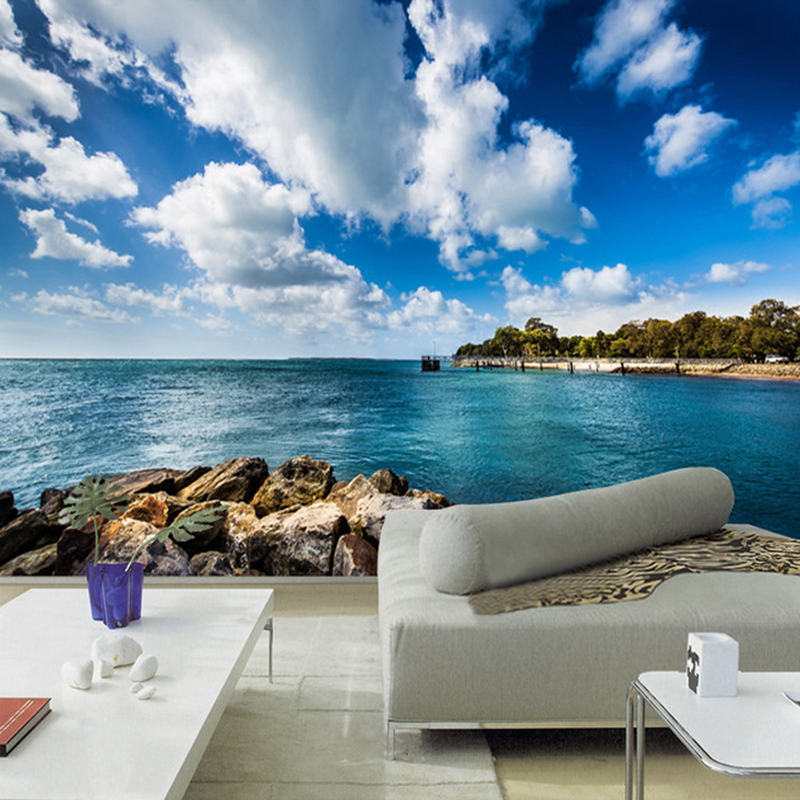 Blue Sky And White Clouds Seaside Landscape Photo Wallpaper 3D Wall Murals Living Room TV Sofa Bedroom Backdrop Wall Papel Mural custom ceiling wallpaper blue sky and white clouds landscape murals for the living room bedroom ceiling wall papel de parede