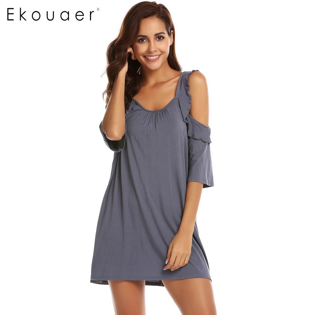 Nightgown women sleepwear short sleeve casual solid o-neck cold shoulder  ruffles vintage nightdress homewear 38a8bbd81