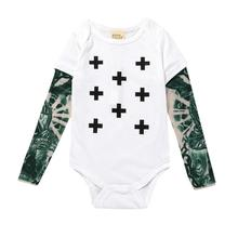 tonlinker newborn baby boys girls flower arm tattoos pure color fake two long-sleeved kids shirt tide short-sleeved rompers