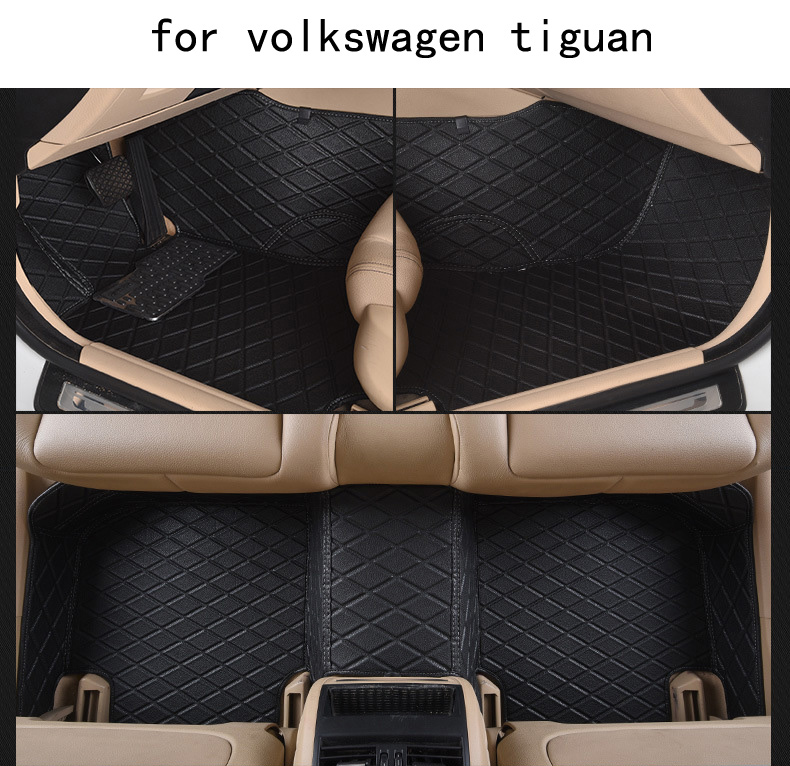 for Volkswagen vw Tiguan left drive firm leather full Car floor mats black brown Non-slip custom made waterproof carpets hot sale abs chromed front behind fog lamp cover 2pcs set car accessories for volkswagen vw tiguan 2010 2011 2012 2013
