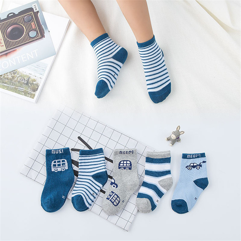 5pairs/Set Toddler Socks Spring Breathable Boys Cotton Summer Children For Calcetines