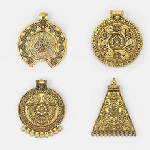 цены на 2PCS Antique Gold Large Round Tribal Bohemian Boho Medallion Trapezoid Charms Pendants Connectors for Necklace Making Jewelry  в интернет-магазинах