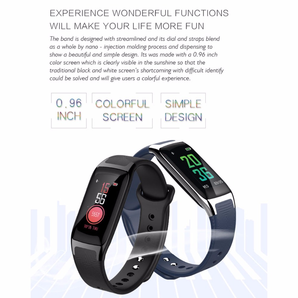 SOONHUA B20 Smart Band Bracelet Heart Rate Blood Pressure Sleep Monitor Pedometer Fitness Tracker Sport Wristband Android/IOS