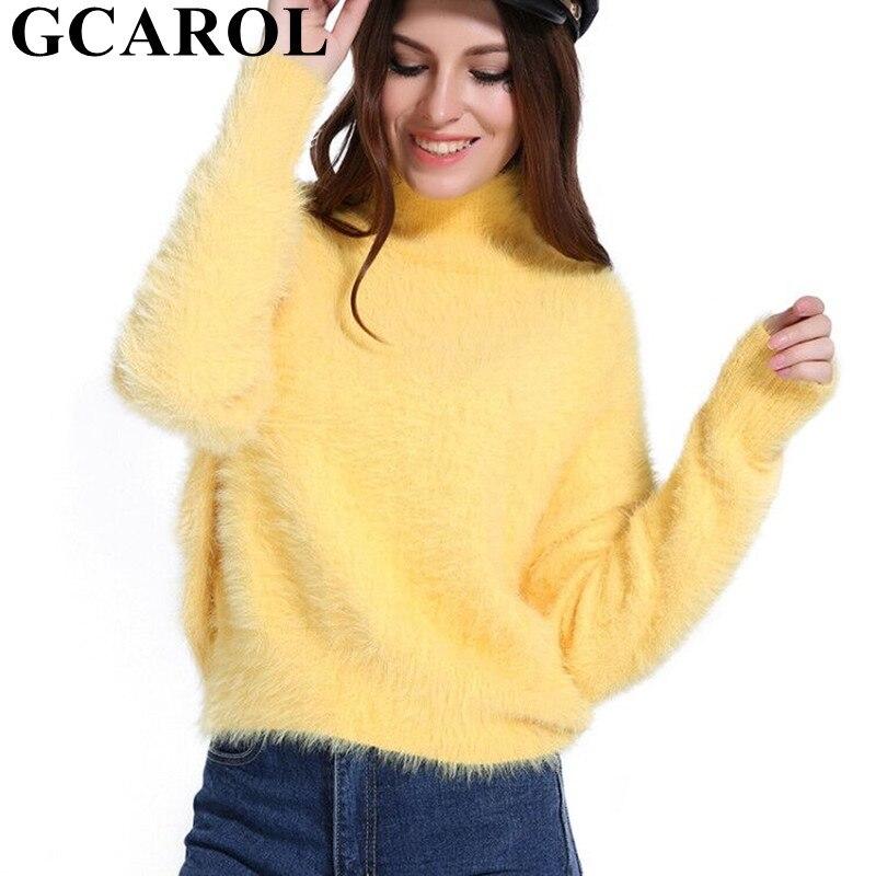 GCAROL 2018 nueva Otoño Invierno mujeres de cuello alto suéter de Mohair lana 20% lana mano suave de gran tamaño de punto Jersey grueso en 4 colores
