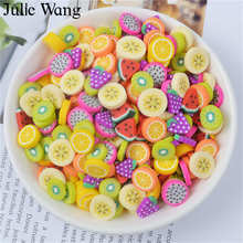 Julie Wang 40PCS Resin Artificial Fruit Slice Charms Slime Fimo Clay Banana Grapes Orange Jewelry Making Accessory Table Props