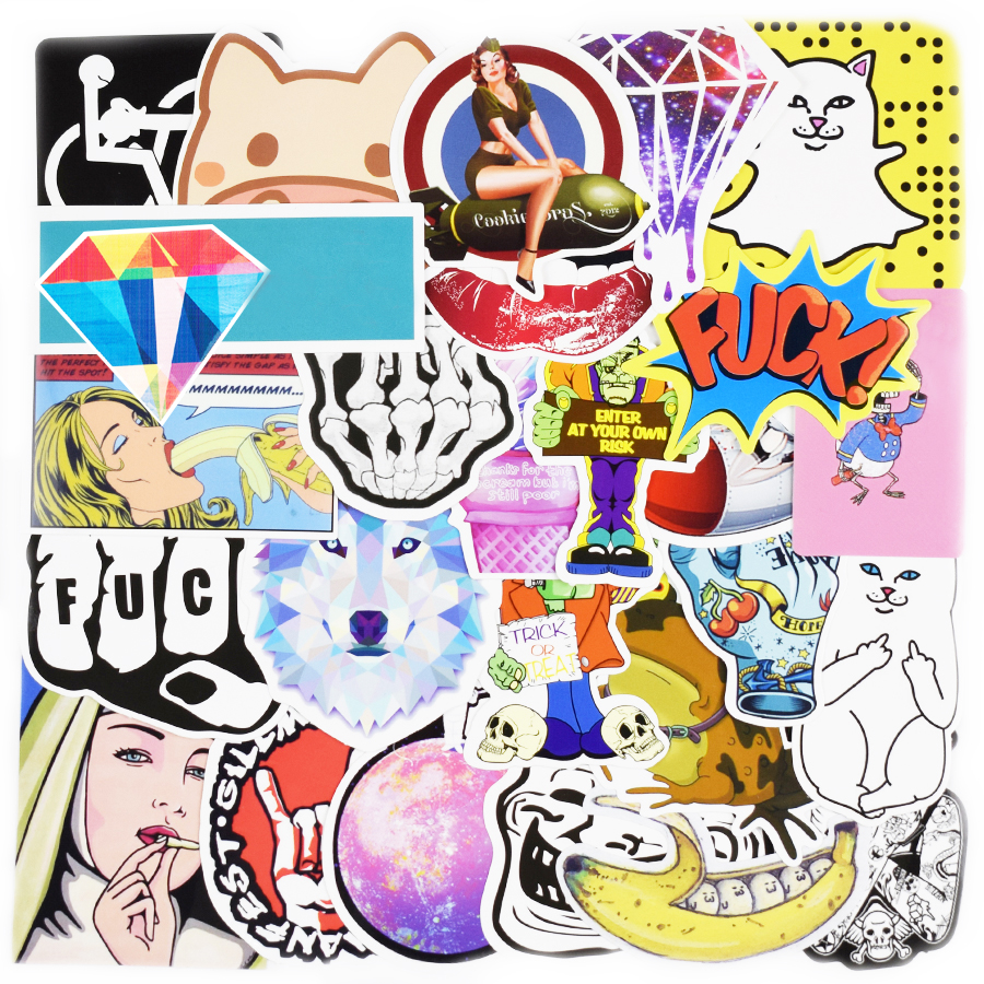 100 Pcs Waterproof Funny Mixed Stickers For DIY Home Decor JDM Sticker For Kids Room Laptop Skateboard Luggage Doodle Stickers