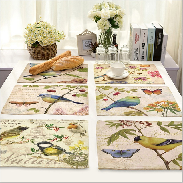 Home Decor Hand Painted Bird Placemat Linen Fabric Table Mat Dishware Coasters For Kitchen Accessories Wedding