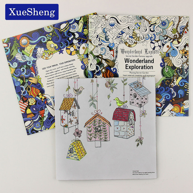 1 PC 24 Pages Wonderland Exploration Coloring Book for Children Adult Relieve Stress Kill Time Graffiti Painting Art Book