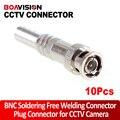 10 Unids CCTV BNC Macho RG-59 Conector Para Cable Coaxial BNC Conector