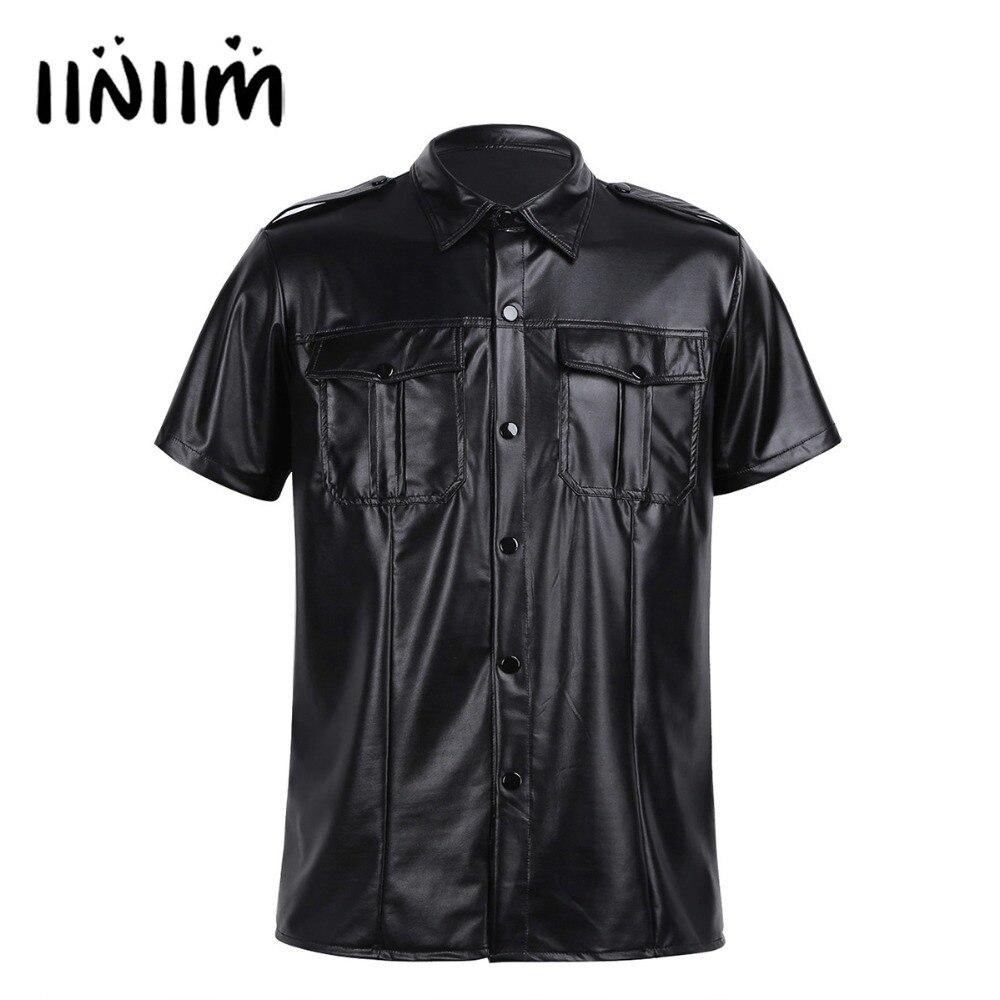 Homme Haute Qualité Gris Faux Cuir Noir Police Uniform Shirt