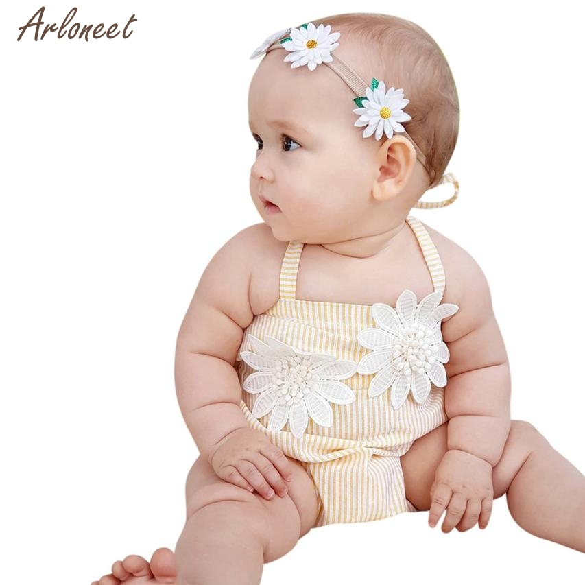 2018 romper baby girl summer Stitchwork Striped Romper Floral Playsuit Clothes Outfits MAR16