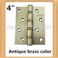 one pair 2pcs top brand GUTE High Quality 4 inch furniture hinge 304 stainless steel hinge Antique brass color door hinge