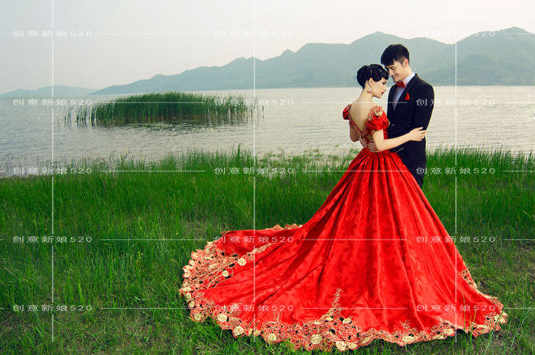 Stella Free Shipping Gown Red Wedding Dress Red Puff
