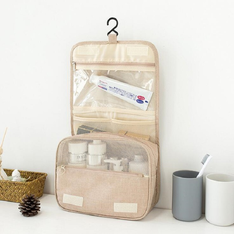 Storage-Organizer Makeup-Bag Cosmetic Wash-Supplies Travel Business Solid New-Hook Cationic