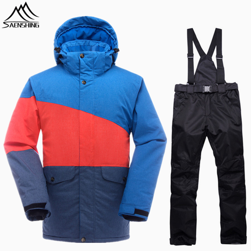 SAENSHING Snowboarding Suits Men Waterproof Winter Ski Suit Thermal Snowboard Jacket Pants Breathable Outdoor Snow