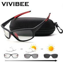 VIVIBEE 2019 Men Photochromic Sunglasses Polarized Golf Women Cycle Color Changing Black Sun Glasses