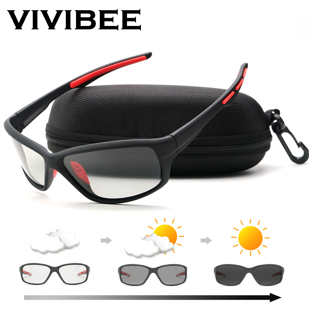 VIVIBEE 2019, gafas de sol fotocromáticas polarizadas para hombre, gafas de sol polarizadas de Golf para mujer, negras que cambian de Color gafas de sol, gafas deportivas para exteriores