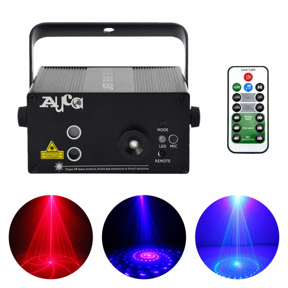 AUCD 9 Patterns RB Laser Projector Stage Lights 3W Blue LED Mixing Effect Remote DJ Home Party KTV Show Stage Lighting L09RB new ir remote 2 lens 18 patterns rg laser crossover effect project 3w blue led mixing effect dj ktv show stage lighting az18rg