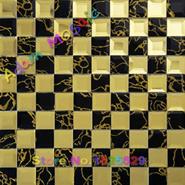 black gold beveled glass tile bathroom wall mirror diamond tiles ...