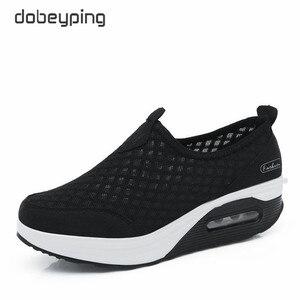 Image 2 - Dobeyping 2018 الربيع الصيف النساء أحذية تنفس شبكة امرأة حذاء مسطح منصة السيدات أحذية رياضية الانزلاق على سوينغ أحذية نسائية