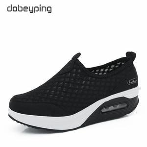 Image 2 - Женские сетчатые кроссовки dobeyping, дышащие кроссовки на плоской платформе, без застежки, для весны и лета, 2018