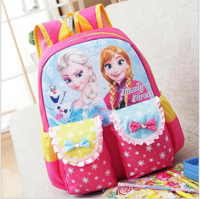 Bolsos de escuela los niños de dibujos animados elsa anna niños mochila niñas mochila infantil de Dibujos Animados Mochila de Primer grado y NurseryDWX