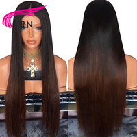 KRN Straight Glueless Lace Front Human Hair Wigs 130 Density Ombre Remy Hair Brazilian Lace Wigs Pre Plucked Natural Hairline
