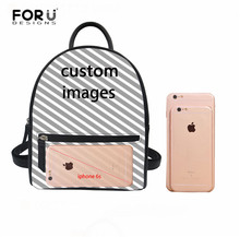 FORUDESIGNS Custom Your Image Leather Backpack for Women Girls School Backbag Vintage Style Daily Mini Rucksack
