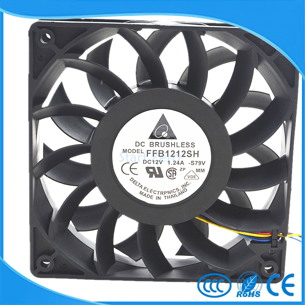 Delta violence High speed large air volume fan FFB1212SH 12025 12V 1.24A 12CM 120X120X25mmcooling fan for delta 12cm 1225 12025 120 120 25mm fan ball bearing fan dc12v computer case fan