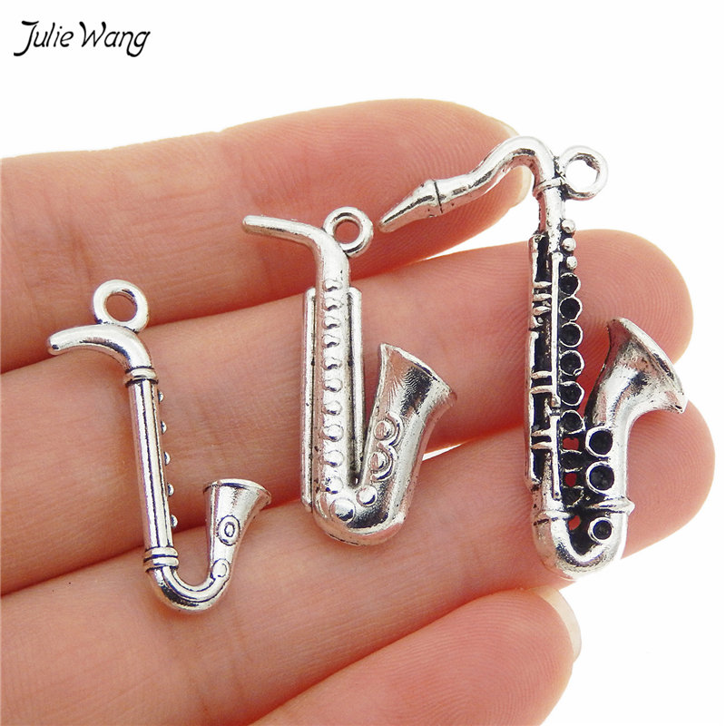 Mixed Music Instrument Saxophone Charms Antique Silver 54054-1