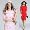 [Alphalmoda] Women Slim Pencil Dress Half-sleeve Hollow Out Flowers Female Graceful Lace Dress Pink Red S-2XL Oversized