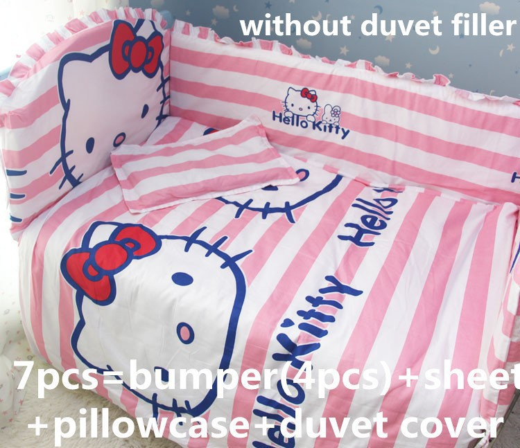 ФОТО promotion! 6/7pcs hello kitty love baby bedding set selva baby crib bedding set pure cotton , 120*60/120*70cm