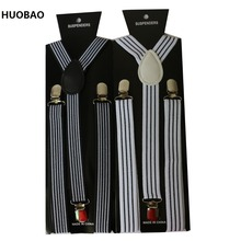 2017 New 2.5cm Wide Adjustable Clip on Black And White Stripes Suspenders For Mens Womens