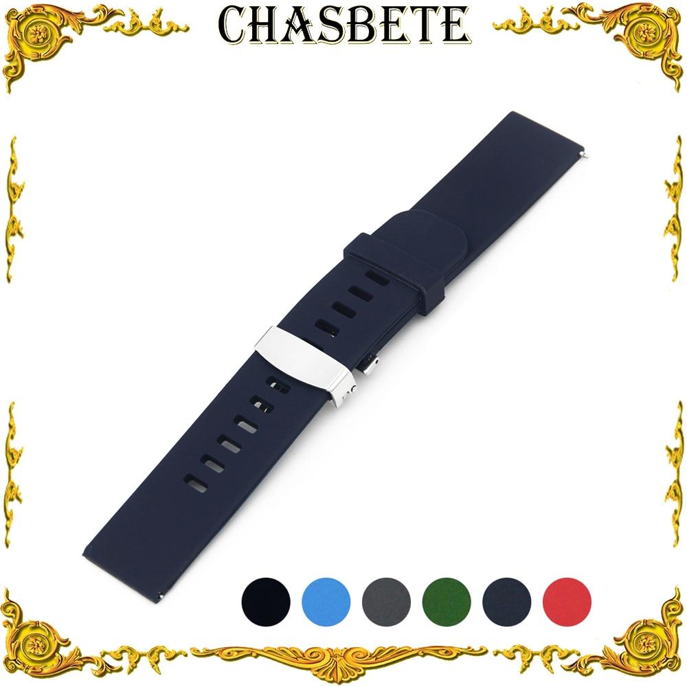 22mm Montre En Caoutchouc de Silicone Bande pour Samsung Vitesse S3 Classique/frontière Rapide Sortie Résine Bracelet Boucle Ceinture Bracelet noir