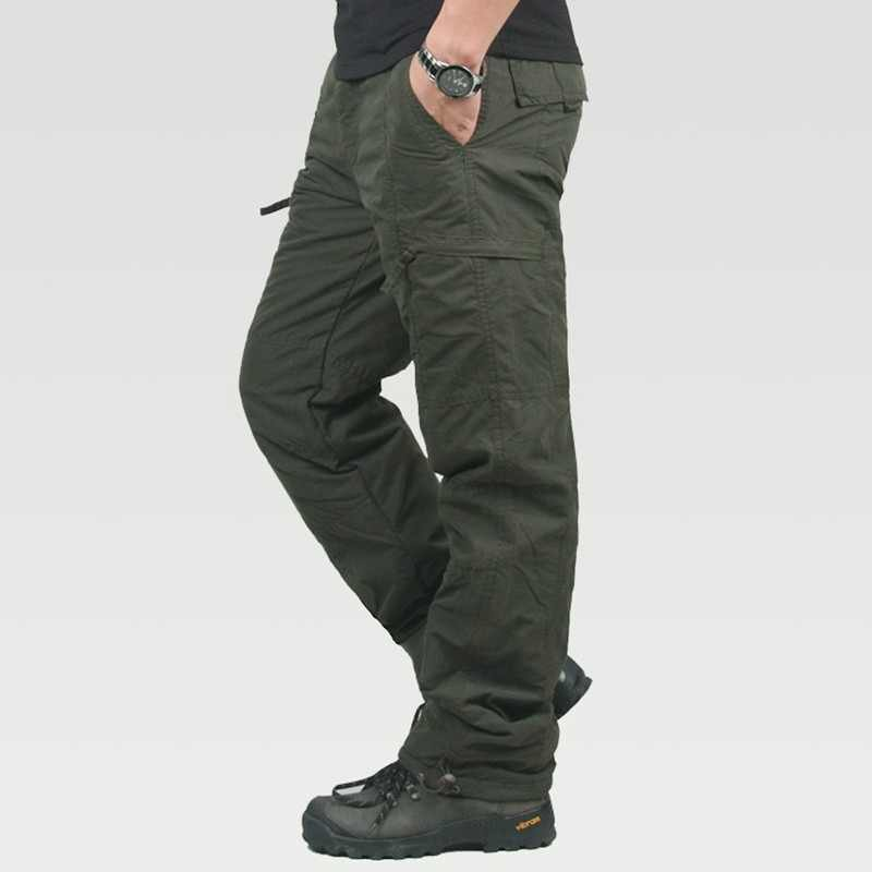 8022dbe4 Fleece Thicken Warm Pocket Cargo Tactical Pants Men's Winter Outdoor  Fishing Camping Riding Thermal Baggy Cotton
