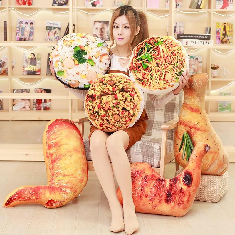 Candice guo peluche giocattolo cibo simulazione stile coscia di Pollo pulcino ala bacchetta spaghetti di riso fritto cuscino regalo di compleanno 1 pz