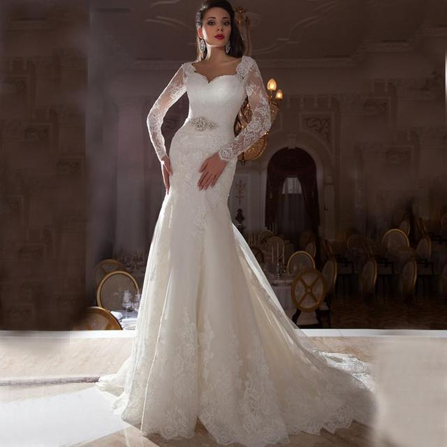 crystal beads long sleeve mermaid bridal wedding dress lace applique vestido re novia sweetheart ribbons