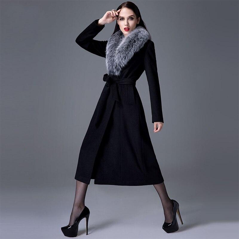 На осень зиму шерстяное пальто роскошный большой натуральным лисьим мехом воротник тонкий женские элегантные шерстяное пальто длинные женские шерстяная куртка DY16D013